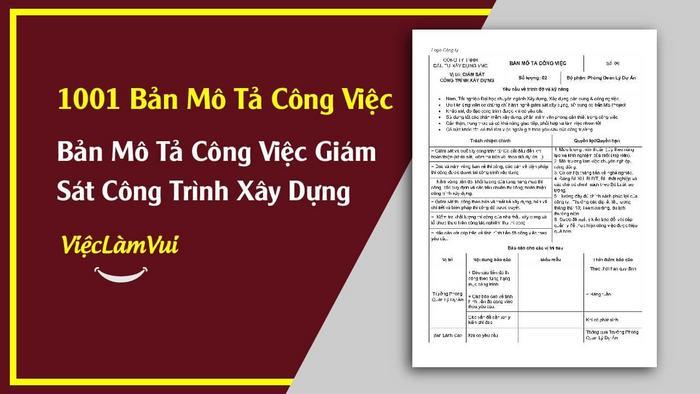 Mẫu bản mô tả công việc giám sát công trình xây dựng - 1001 bản mô tả công việc ViecLamVui
