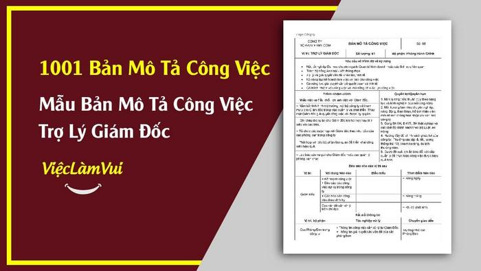 Mẫu bản mô tả công việc trợ lý giám đốc - 1001 bản mô tả công việc ViecLamVui
