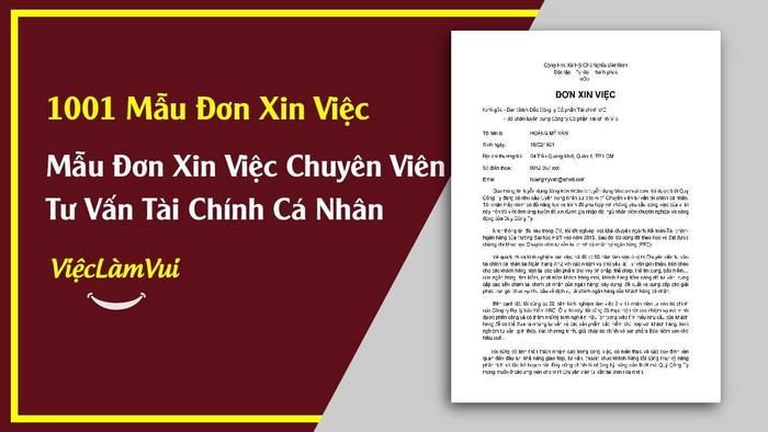 Mẫu đơn xin việc chuyên viên tư vấn tài chính cá nhân - 1001 mẫu đơn xin việc ViecLamVui