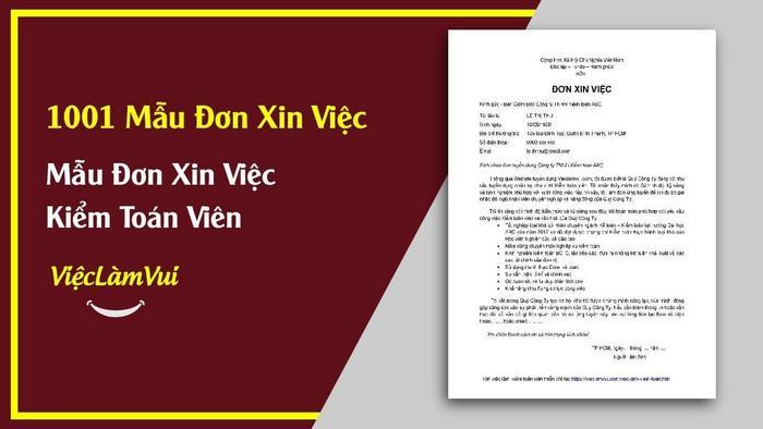 Mẫu đơn xin việc kiểm toán viên - 1001 mẫu đơn xin việc vieclamvui