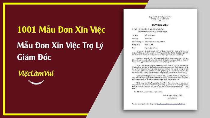 Mẫu đơn xin việc trợ lý giám đốc - 1001 mẫu đơn xin việc ViecLamVui