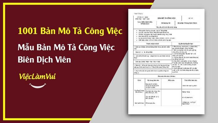 Mẫu bản mô tả công việc biên dịch viên - 1001 bản mô tả công việc ViecLamVui