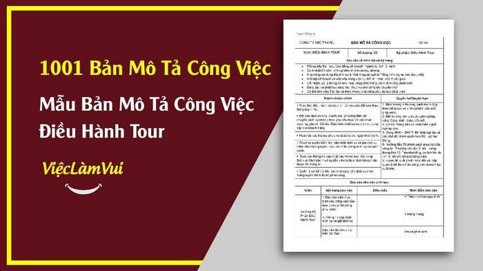 Mẫu bản mô tả công việc điều hành tour - 1001 bản mô tả công việc ViecLamVui