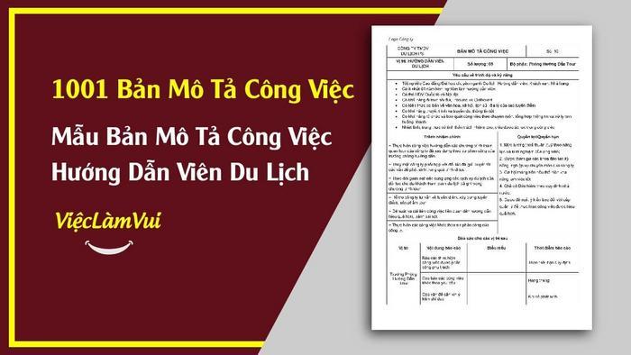 Mẫu bản mô tả công việc HDV du lịch - 1001 bản mô tả công việc ViecLamVui