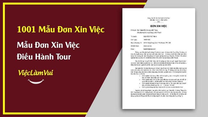 Mẫu đơn xin việc điều hành tour - 1001 mẫu đơn xin việc ViecLamVui