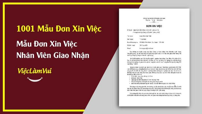 Mẫu đơn xin việc nhân viên giao nhận - 1001 mẫu đơn xin việc ViecLamVui