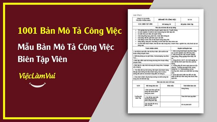 Mẫu bản mô tả công việc biên tập viên - 1001 bản mô tả công việc ViecLamVui