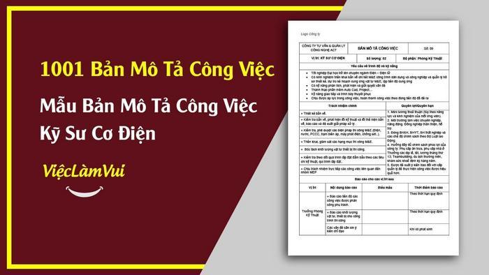 Mẫu bản mô tả công việc kỹ sư cơ điện - 1001 bản mô tả công việc ViecLamVui
