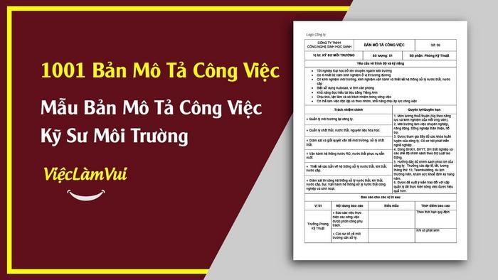 Mẫu bản mô tả công việc kỹ sư môi trường - 1001 bản mô tả công việc ViecLamVui