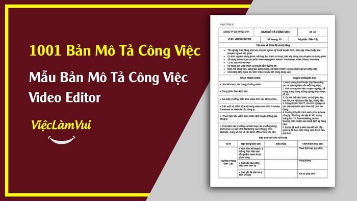 Mẫu bản mô tả công việc Video Editor - 1001 bản mô tả công việc ViecLamVui