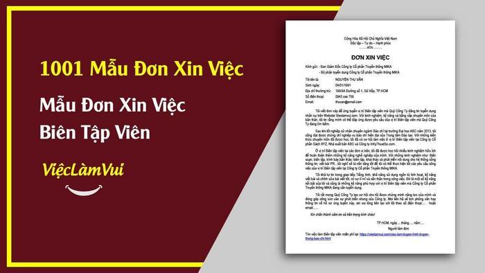 Mẫu đơn xin việc biên tập viên - 1001 mẫu đơn xin việc ViecLamVui