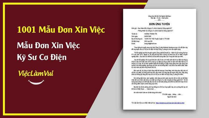Mẫu đơn xin việc kỹ sư cơ điện - 1001 mẫu đơn xin việc ViecLamVui