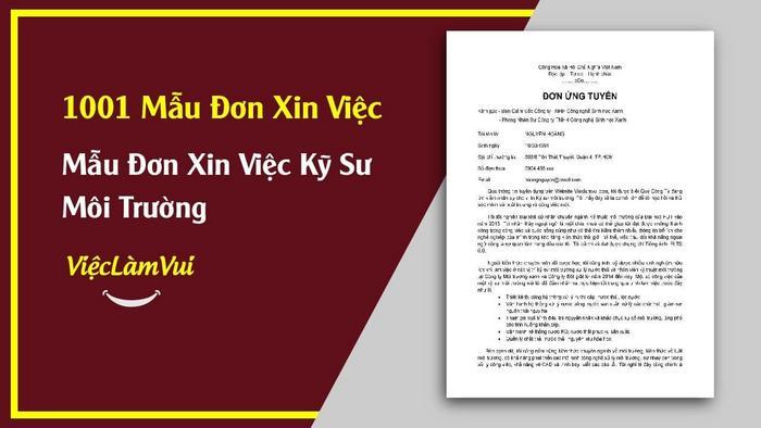 Mẫu đơn xin việc kỹ sư môi trường - 1001 mẫu đơn xin việc ViecLamVui