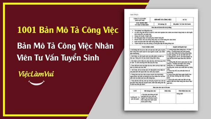 Mẫu bản mô tả công việc nhân viên tư vấn tuyển sinh - 1001 bản mô tả công việc ViecLamVui