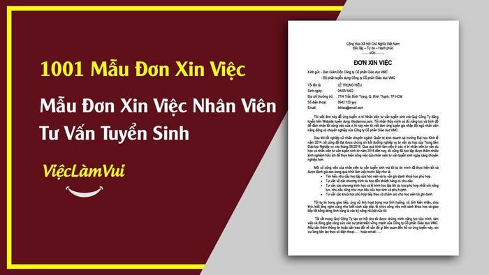 Mẫu đơn xin việc nhân viên tư vấn tuyển sinh - 1001 mẫu đơn xin việc ViecLamVui