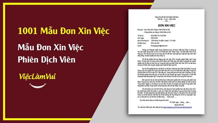 Mẫu đơn xin việc phiên dịch viên - 1001 mẫu đơn xin việc ViecLamVui
