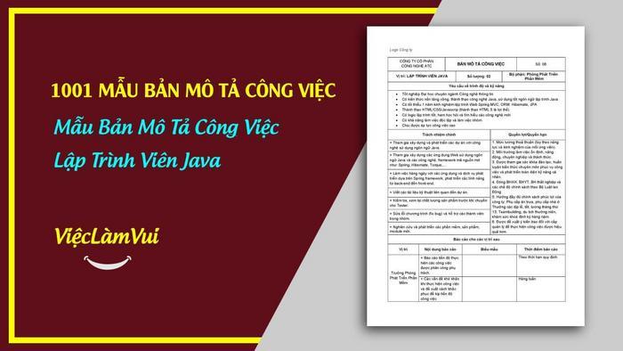 Mẫu bản mô tả công việc lập trình viên java - 1001 bản mô tả công việc ViecLamVui
