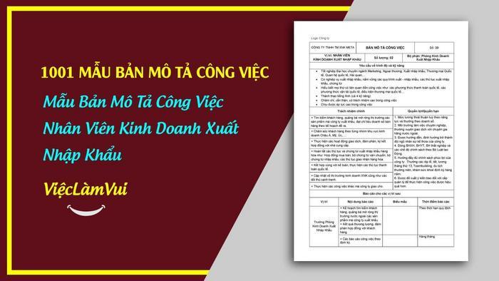 Mẫu bản mô tả công việc nhân viên kinh doanh xnk - 1001 bản mô tả công việc ViecLamVui