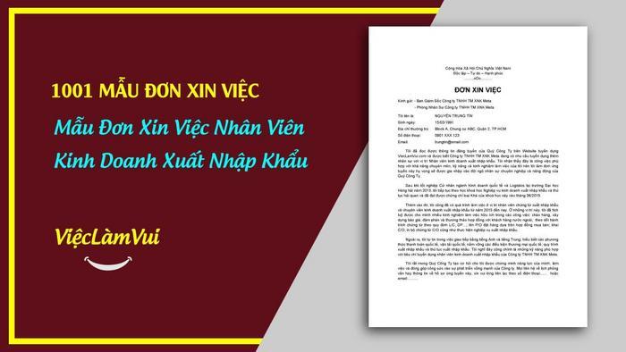 Mẫu đơn xin việc nhân viên kinh doanh XNK - 1001 mẫu đơn xin việc ViecLamVui