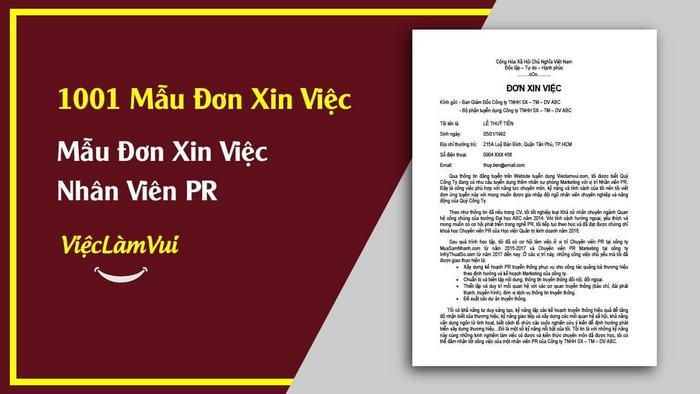 Mẫu đơn xin việc nhân viên PR - 1001 mẫu đơn xin việc ViecLamVui