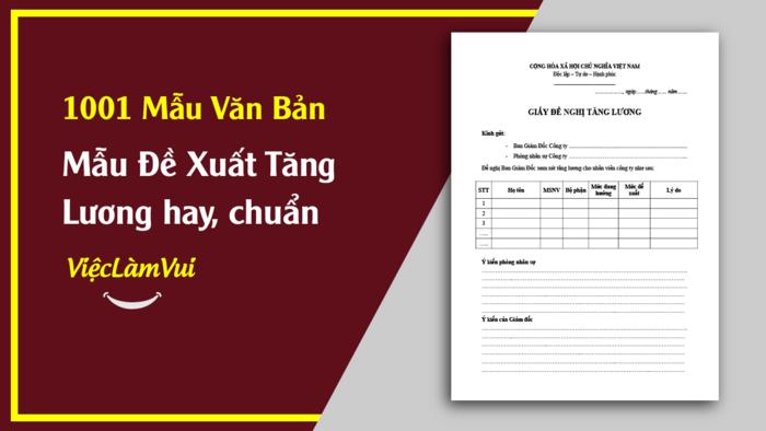 Mẫu đề xuất tăng lương - 1001 Mẫu văn bản ViecLamVui