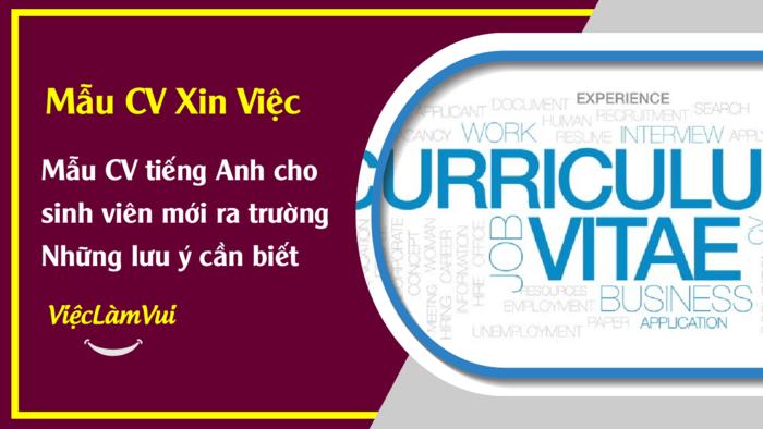 Mẫu CV tiếng Anh cho sinh viên mới ra trường - 1001 Mẫu CV ViecLamVui