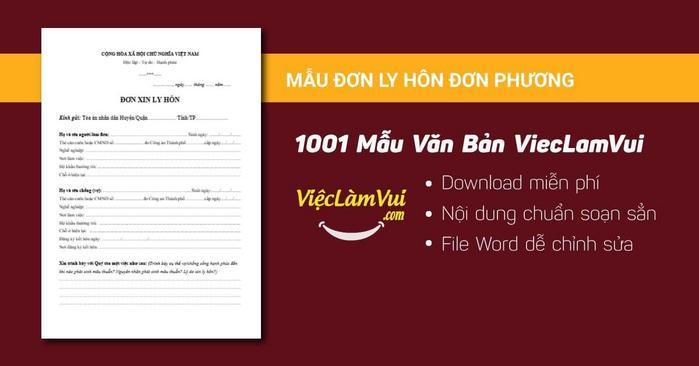 Mẫu đơn ly hôn đơn phương - 1001 Mẫu văn bản ViecLamVui