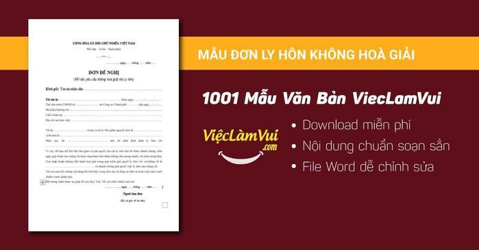 Mẫu đơn ly hôn không hoà giải - 1001 mẫu văn bản ViecLamVui