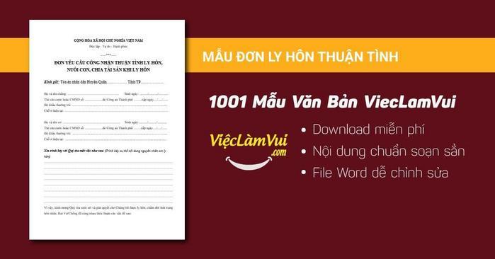Mẫu đơn ly hôn thuận tình - 1001 Mẫu văn bản ViecLamVui