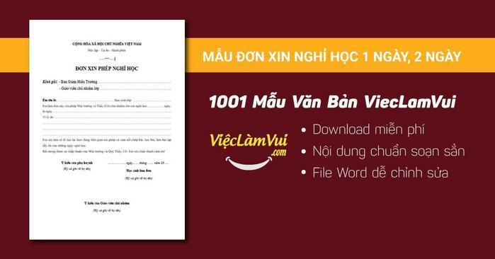Đơn xin nghỉ học 1 ngày - 1001 mẫu văn bản ViecLamVui