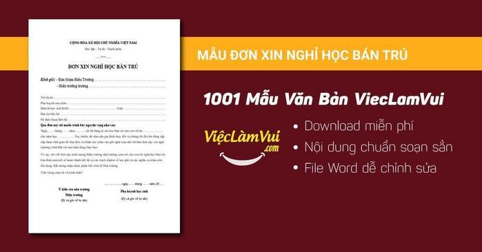 Đơn xin nghỉ học bán trú - 1001 mẫu văn bản ViecLamVui
