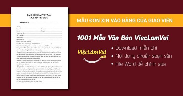 Đơn xin vào Đảng của giáo viên - 1001 mẫu văn bản ViecLamVui