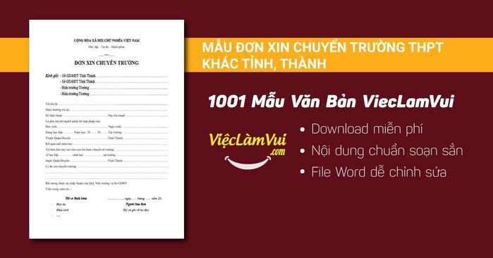 Đơn xin chuyển trường THPT - 1001 mẫu văn bản ViecLamVui