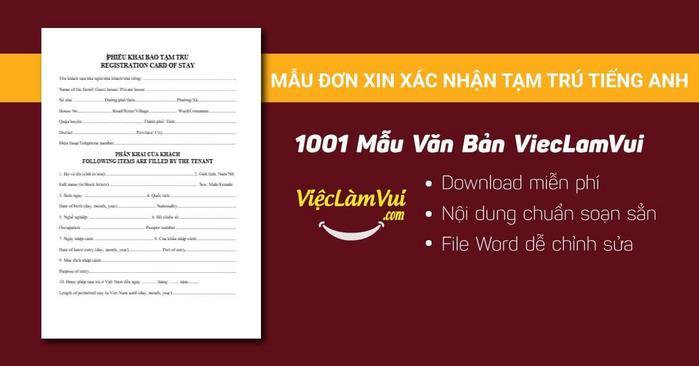 Đơn xin xác nhận tạm trú tiếng Anh - 1001 mẫu văn bản ViecLamVui