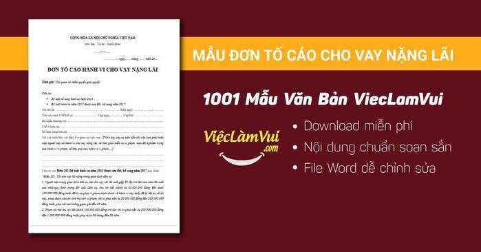 Mẫu đơn tố cáo cho vay nặng lãi - 1001 mẫu văn bản ViecLamVui