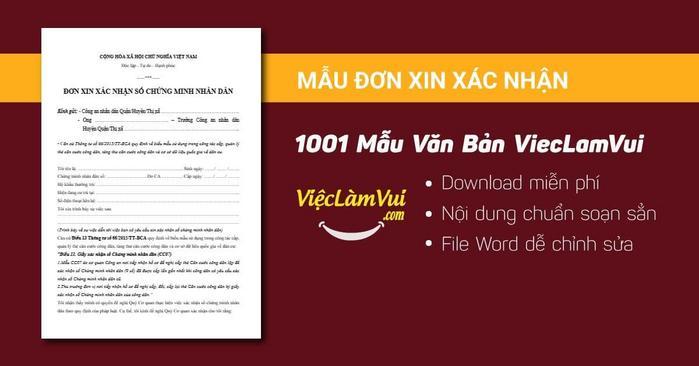 Mẫu đơn xin xác nhận - 1001 mẫu văn bản ViecLamVui