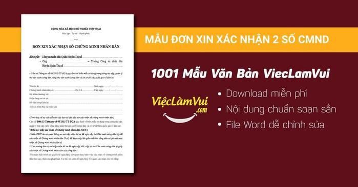 Mẫu đơn xin xác nhận 2 số CMND - 1001 mẫu văn bản ViecLamVui