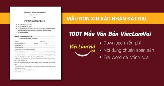 Mẫu đơn xin xác nhận đất đai - 1001 mẫu văn bản ViecLamVui