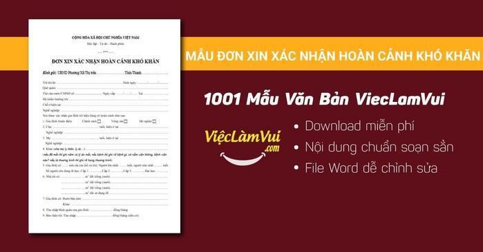 Mẫu đơn xin xác nhận hoàn cảnh khó khăn - 1001 mẫu văn bản ViecLamVui