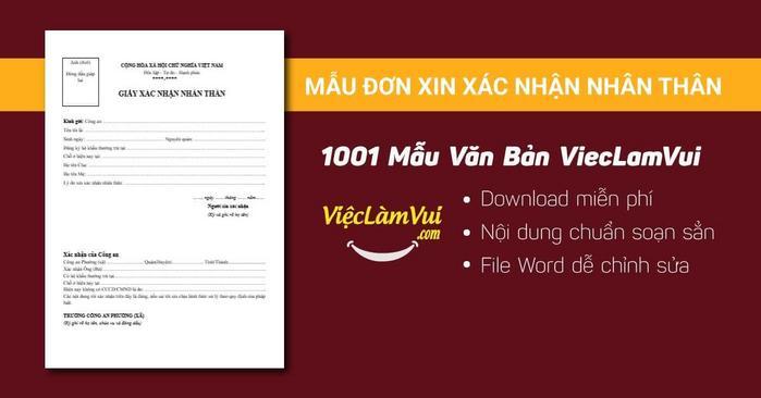 Mẫu đơn xin xác nhận nhân thân - 1001 mẫu văn bản ViecLamVui