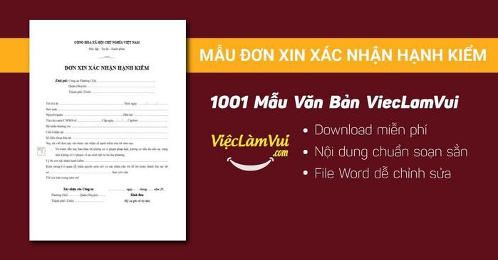 Đơn xin xác nhận hạnh kiểm - 1001 mẫu văn bản ViecLamVui