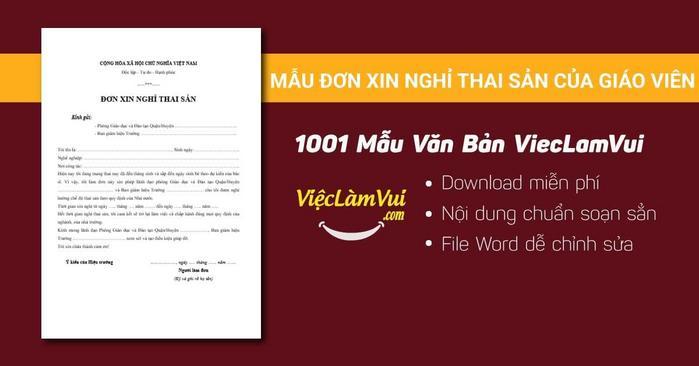 Mẫu đơn xin nghỉ thai sản của giáo viên - 1001 Mẫu văn bản ViecLamVui