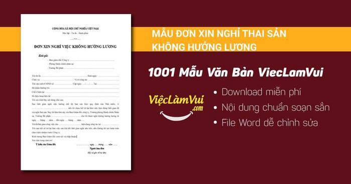 Mẫu đơn xin nghỉ thai sản không hưởng lương - 1001 mẫu văn bản ViecLamVui