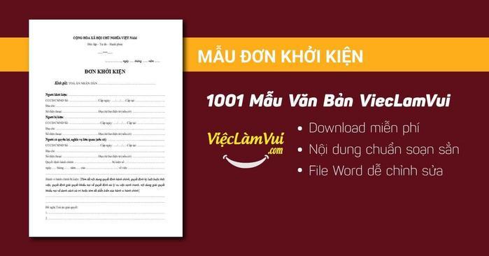 Đơn khởi kiện - 1001 mẫu văn bản ViecLamVui