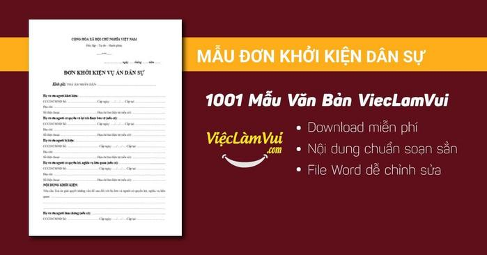 Đơn khởi kiện dân sự - 1001 mẫu văn bản ViecLamVui