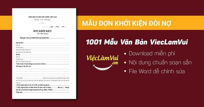 Đơn khởi kiện đòi nợ - 1001 mẫu văn bản ViecLamVui