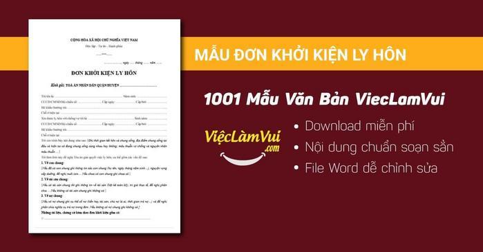 Đơn khởi kiện ly hôn - 1001 mẫu văn bản ViecLamVui