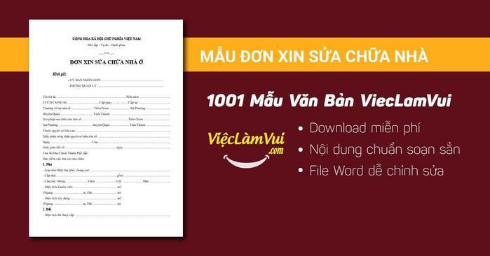Đơn xin sửa chữa nhà - 1001 mẫu văn bản ViecLamVui