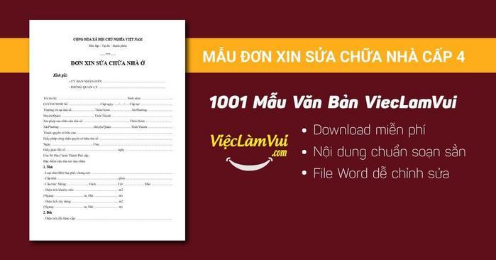 Đơn xin sửa chữa nhà cấp 4 - 1001 mẫu văn bản ViecLamVui