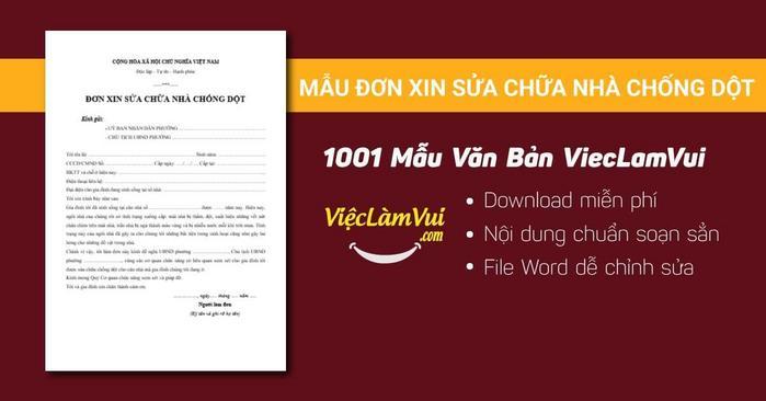 Đơn xin sửa chữa nhà chống dột - 1001 mẫu văn bản ViecLamVui